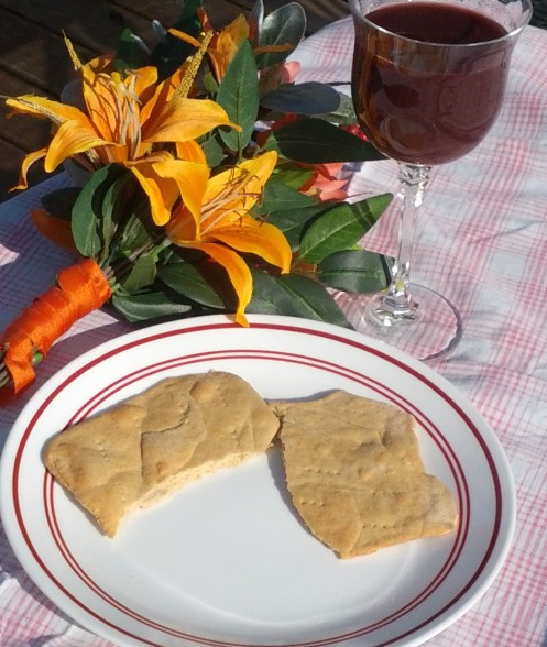 homemade bread and grape juice for Easter