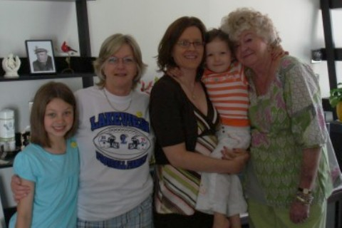 This picture is 5 years old, but it is one of the few I have with my mom and her mom in recent years.  (my daughter, my mom, me, my other daughter, and my Nanny).  This will be our first Mother's Day without Nanny.
