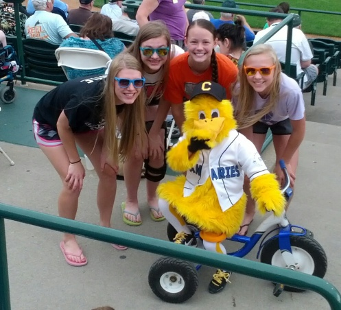 Birthday trip to Sioux Falls.  Girls with Peep!