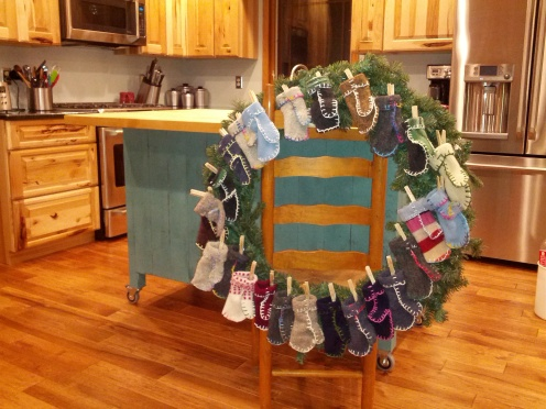 Our advent wreath.  The background is a sneak peek of the work we have been completing in our kitchen remodel.