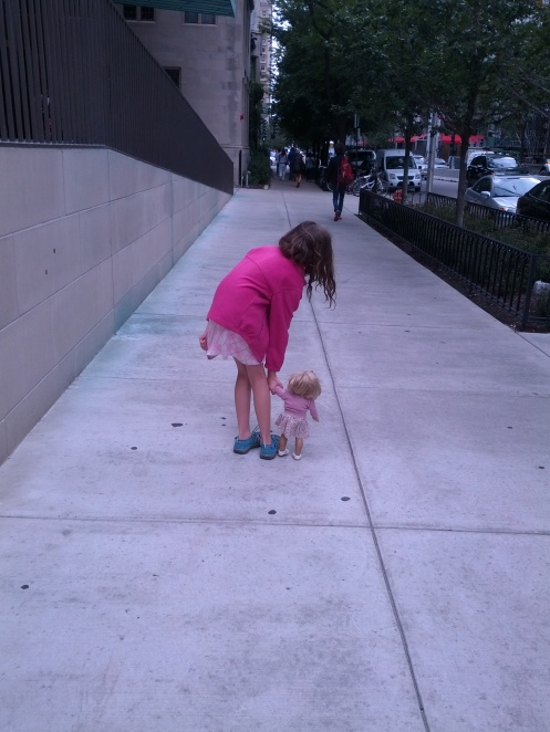 I drew the line at bringing the stroller this time, but trust me walking like this takes a long time by any definition.