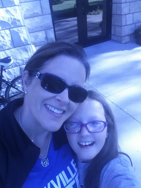 Mini-me and I just outside Old Main on her last day of STEM camp