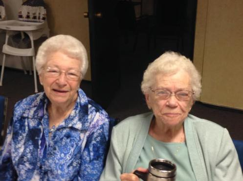 Sitting with her dear friend, V, Grandma Ruth on the right at her surprise party at our church!